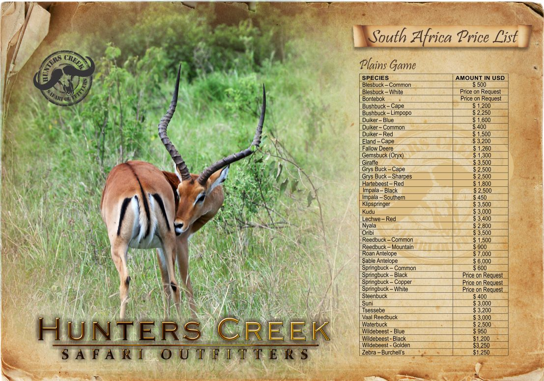 South African Price list | Hunters Creek Safari Outfitters